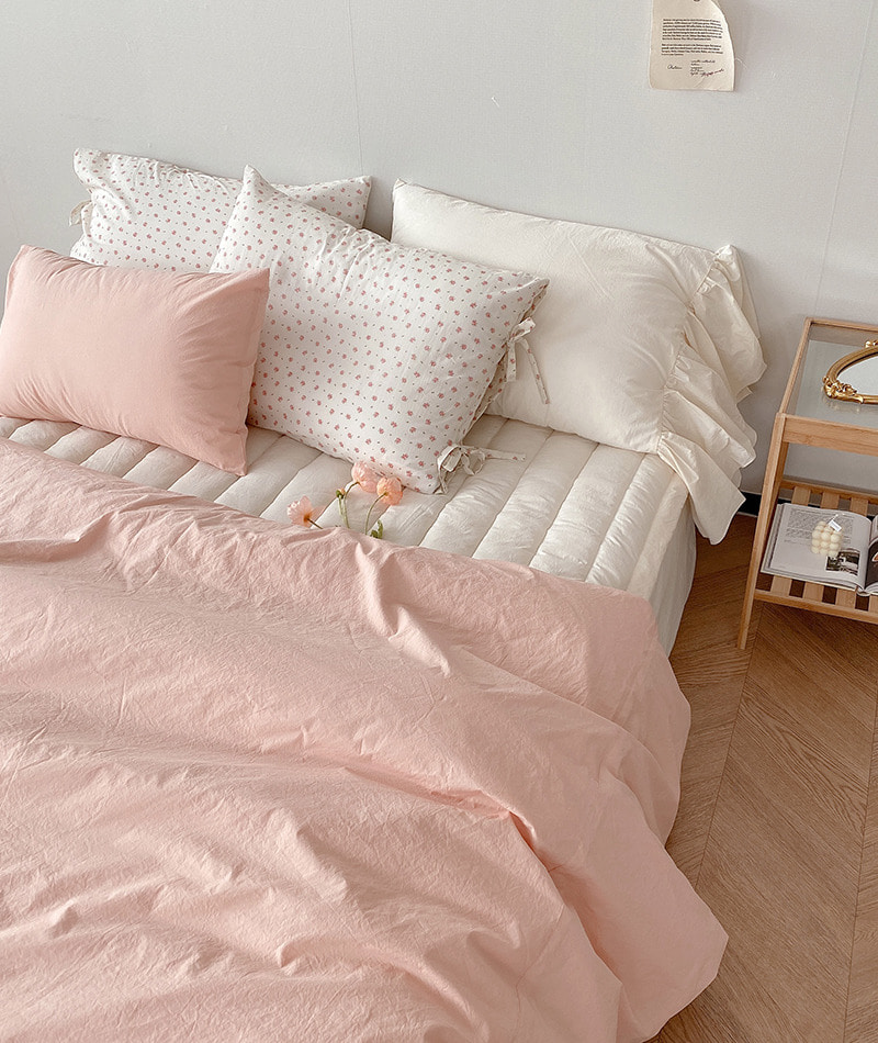 Solid Cotton Bedding (Coral Pink)