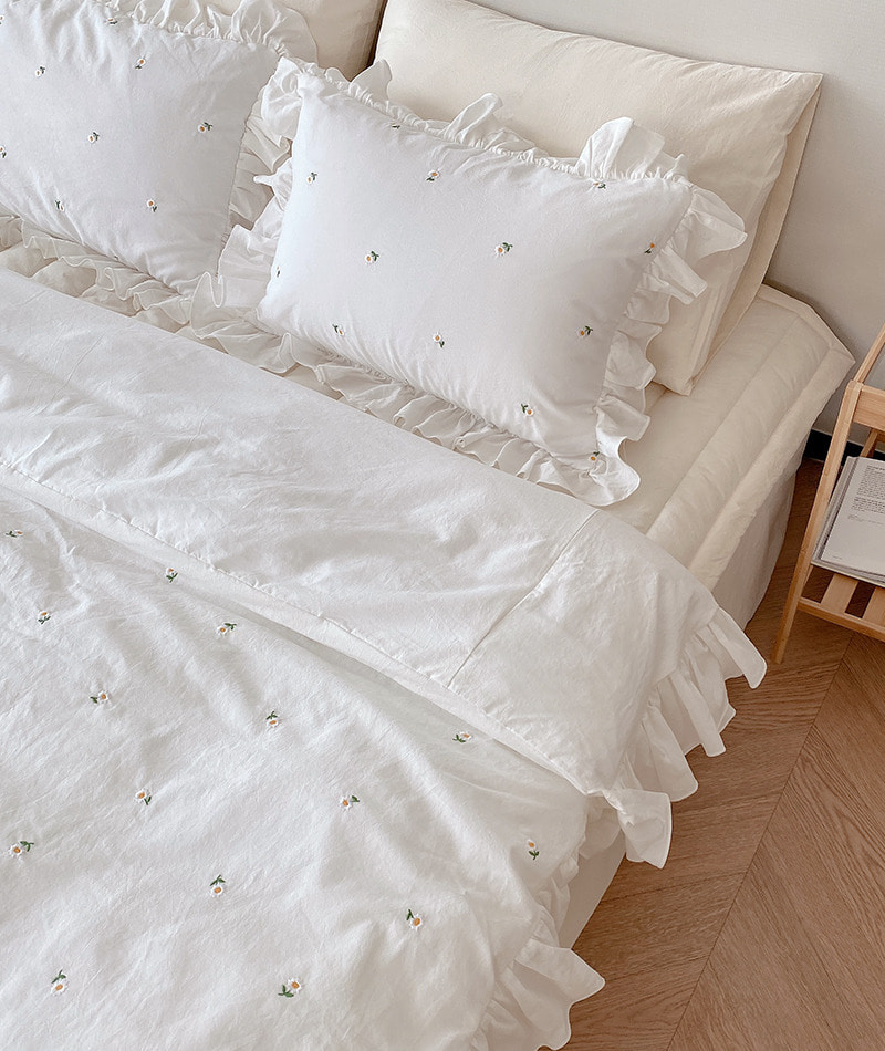 Daisy Cotton Bedding (White)