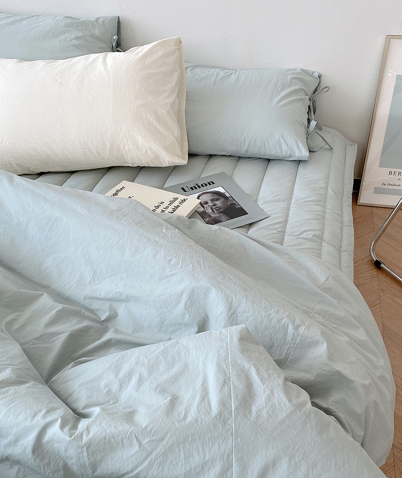 Solid Cotton Bedding (Misty Blue)