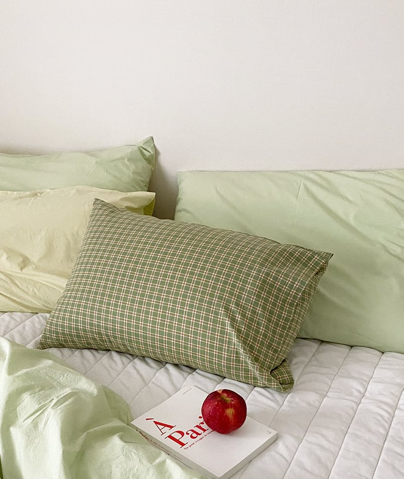 Stew Olive Check Pillow Cover